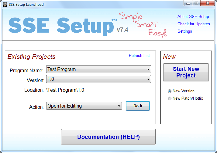 SSE Setup Screen shot